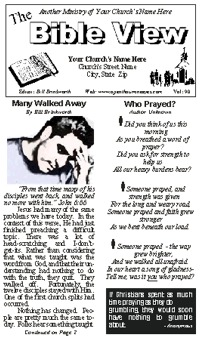 A sample of a Bible View bulletin insert and newspaper